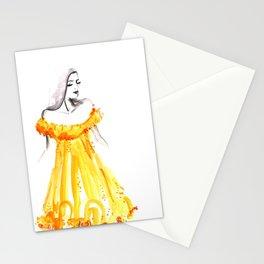Fashion illustration yellow off shoulder dress Stationery Cards