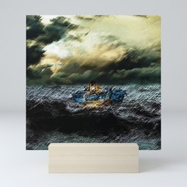 Abandoned Ship on the water portrait Mini Art Print