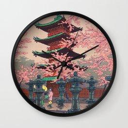 Eight Views of Tokyo - Toshogu Shrine Kasamatsu Shiro Japanese Woodblock Painting Asian Beautiful Wall Clock