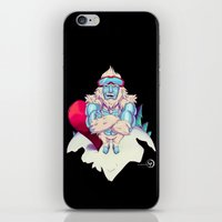 snowboard iPhone & iPod Skins featuring Snowboard Yeti [black background] by garciarts