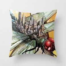 Dragonfly City Throw Pillow