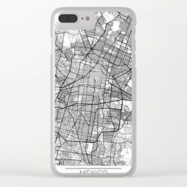 Mexico City Map White Clear iPhone Case
