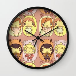 quirky seasons pattern Wall Clock