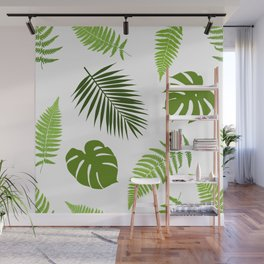 Tropical leaves seamless pattern. Wall Mural
