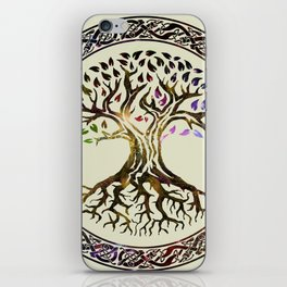 Tree of life  -Yggdrasil - Gold & Green  foil iPhone Skin