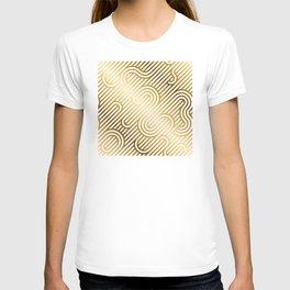 Art Deco Gold and White Geometric Ornate Pattern T-shirt