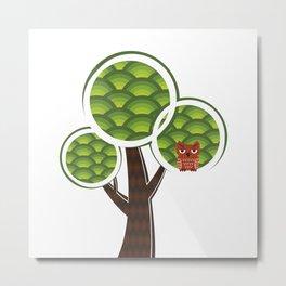 Grumpy owl in the tree Metal Print