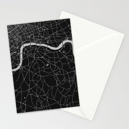 London Black on Gray Street Map Stationery Cards