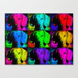 Colorful Pop Art Dachshund Doxie Face Closeup Tiled Image Canvas Print
