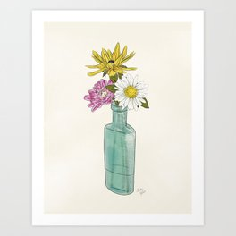 Wildflowers in an Antique Bottle Art Print