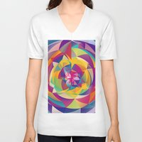 acid V-neck T-shirts featuring Acid Blossom by Eleaxart
