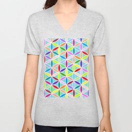 Flower of Life Large Pattern – Multicoloured Unisex V-Neck