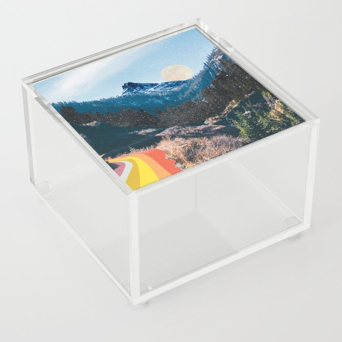 1960's Style Mountain Collage Acrylic Box
