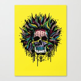 Magical Voodoo Skull Warrior Canvas Print