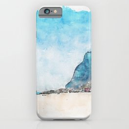 Aquarelle sketch art. Gibraltar, the rock, beach and coastline iPhone Case