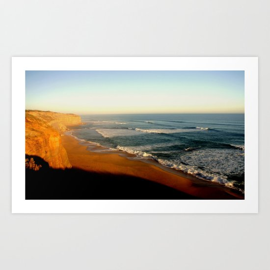 Sunset glowing on the limestone Cliffs Art Print