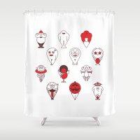 calendar Shower Curtains featuring Calendar monsters by Nika Belova