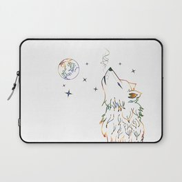 Wolf howling on moon sketch Laptop Sleeve