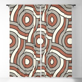 Circle Swirl Pattern Ever Classic Gray 32-24 Red River 4-21 and Dover White 33-6 Blackout Curtain