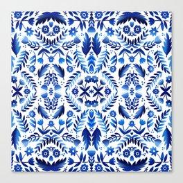 Folk Art Flowers - Blue and White Canvas Print
