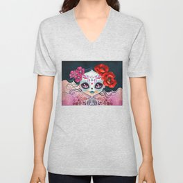 Amelia Calavera - Sugar Skull Unisex V-Neck