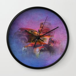 cars lost in the mist of time Wall Clock