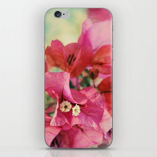 Vintage Bougainvillea Flowers in pink & green with textures iPhone & iPod Skin