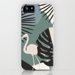 Minimal Flamingo Monstera Fan Palm Finesse #1 #tropical #decor #art #society6 iPhone Case