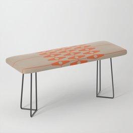 abstract eyes pattern orange tan Bench