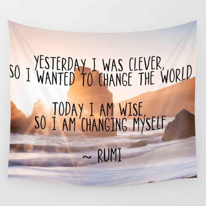 Motivational Rumi Quotation Yesterday I Was Clever Quote Art Wall