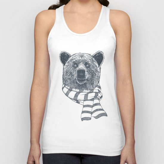 Winter Bear Drawing Unisex Tank Top