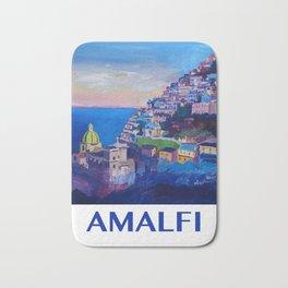 Retro Vintage Style Travel Poster Amazing Amalfi Coast At Sunset Bath Mat