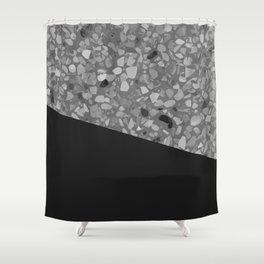 Terrazzo Texture Grey Black #7 Shower Curtain
