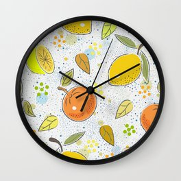 Seamless Pattern with cute lemons and oranges. Scandinavian Hand Drawn Style Wall Clock
