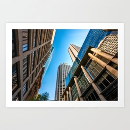 Low angle view perspective on Pitt Street in Sydney Art Print