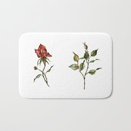 Loose Watercolor Rosebuds Bath Mat