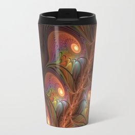 Colorful Fluorescent Abstract Modern Brown Fractal Travel Mug