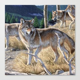 Wolf in winter forest Canvas Print