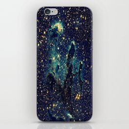 Pillars of Creation GalaxY  Teal Blue & Gold iPhone Skin