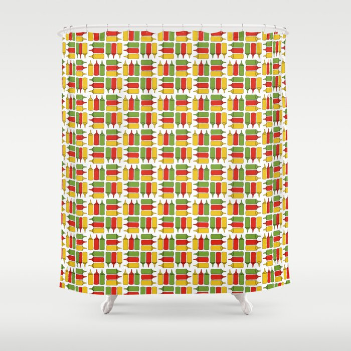 Condiments - BBQ Doodle Pattern Shower Curtain