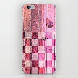 Vintage pink checkered planks iPhone Skin
