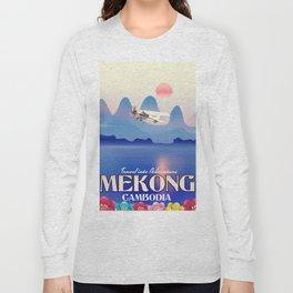 Mekong Cambodia vacation poster. Long Sleeve T-shirt