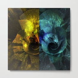 Deux Roses - Sparkling blue and yellow Rose Metal Print