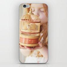 A girl and her bird iPhone & iPod Skin