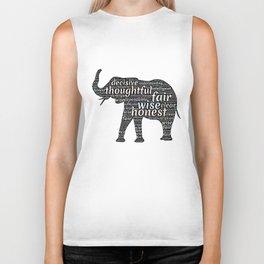 Elephant with words Biker Tank