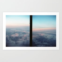 Aerial photo of Boston area - Sunset sky Art Print
