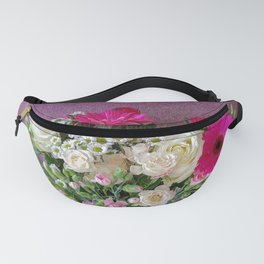 Flowers in a vase - pink gerberas, carnations, daisies, red and white roses Fanny Pack