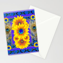 LILAC-BLUE PEACOCK JEWELED SUNFLOWERS Stationery Cards