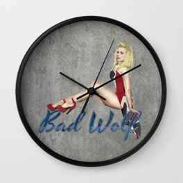 Blonde in a Union Jack...A specific one Wall Clock