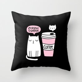 Meow coffee cat Throw Pillow